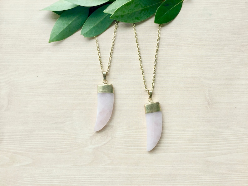 Gold Plated Rose Quartz Necklace Pendant Necklace in Gold image 0