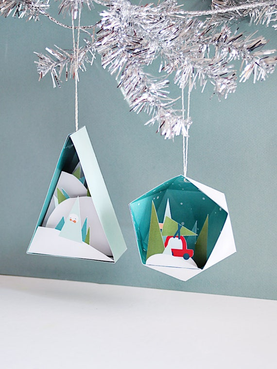 3d Christmas Ornaments 2 4 In A Set Printable Paper Crafts Holiday Diy