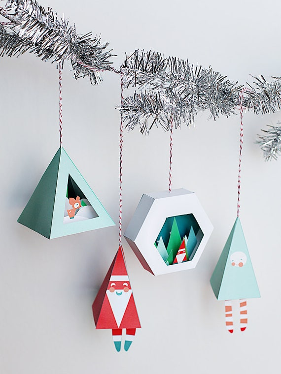 3d Christmas Ornaments 1 4 In A Set Printable Paper Etsy