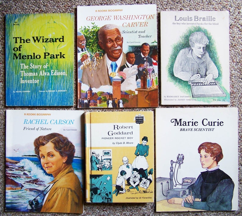 Educational Childrens Books - Inventors, Scientists - Edison, Wright  Brothers, Goddard, Curie, Carson, Carver - Middle Reader Book Lot of 9