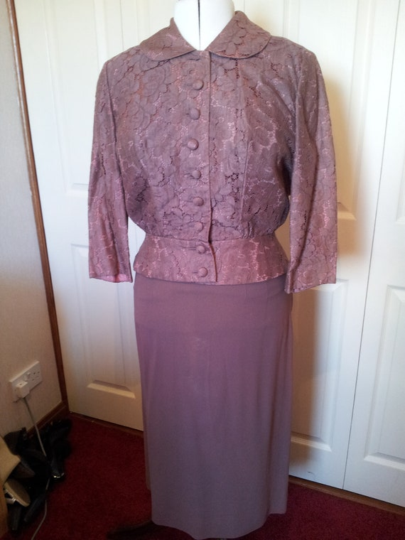 Sale...1950's Cocoa Brown Dress and Jacket