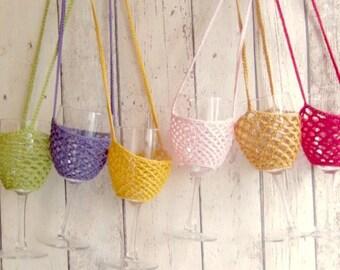 Crochet Wine Glass Holder, Wine Glass Holder, Lanyard, Wine Love, Garden Party, Festival Wear, Hen Party, Wine Cozy, Weddings, Festivals