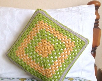 Crochet Cushion Cover, Granny Square Crochet Cushion Cover, Traditional Pattern, Ideal Gift for the Home, Modern Colours, Cushion Covers