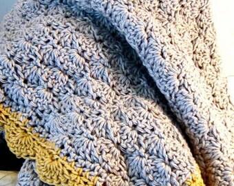 Crochet Baby Blanket, Contemporary Baby Blanket, Grey with Yellow Contrast Edging, Crib Blanket, Baby Afghan, Christening Blanket, Heirloom