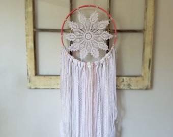 Coral and white Reiki Infused Dreamcatcher- custom made