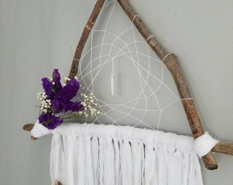 White Bohemian floral and wood reiki infused dreamcatcher