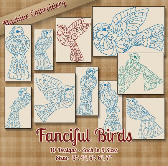 Birdhouses 10 Machine Embroidery Designs on multi-format CD in 7 sizes
