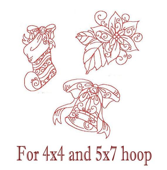 Redwork Navidad media Bell patrones de bordado de flor de | Etsy