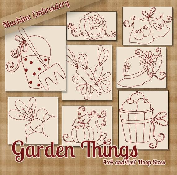 Jardín cosas Redwork máquina bordado patrones / diseños aro | Etsy
