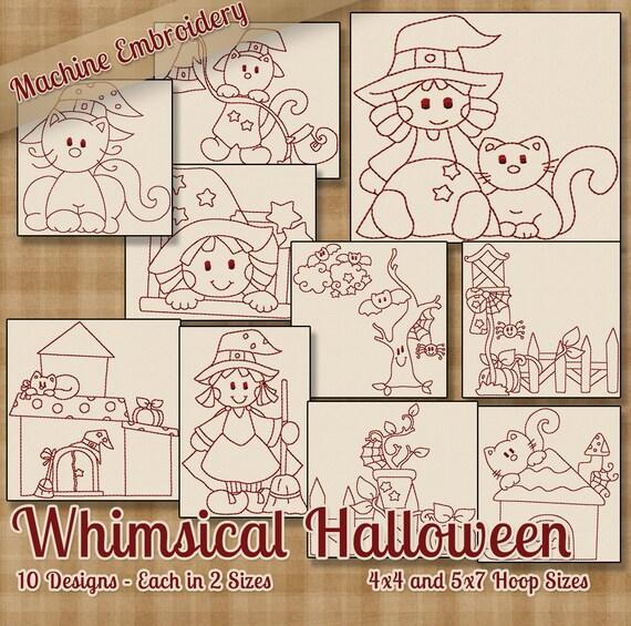 Redwork Halloween caprichosa máquina bordado patrones / | Etsy