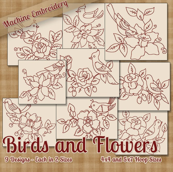 Birds And Flowers Redwork Machine Embroidery Patterns Etsy