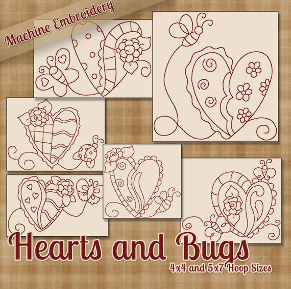 Hearts And Bugs Redwork Machine Embroidery Patterns Designs Etsy Enchanting Machine Embroidery Patterns