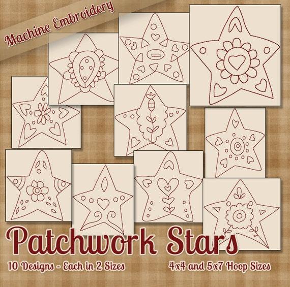 Patchwork patrones de Redwork máquina del bordado de estrellas | Etsy