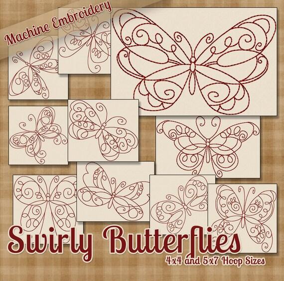Patrones de bordado Redwork máquina Swirly mariposas / diseños | Etsy