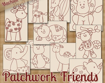 Patchwork Friends Redwork Machine Embroidery Patterns / Designs 4x4 and 5x7 Hoop INSTANT DOWNLOAD Decorative Outline Style Quilting