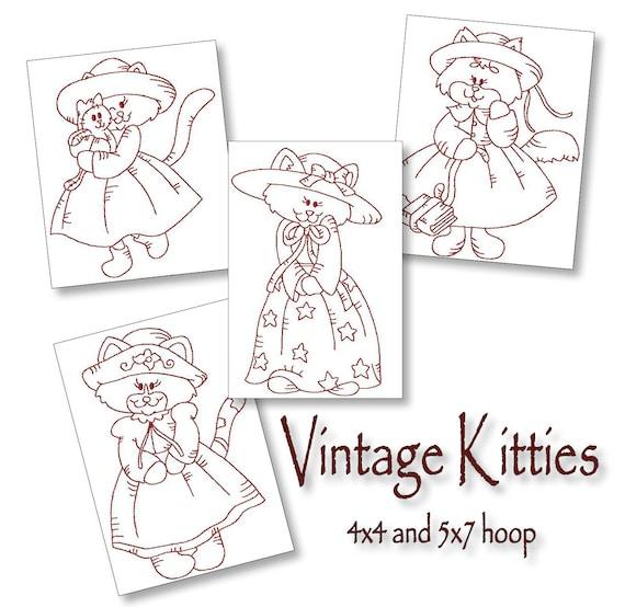 Patrones de bordado Redwork máquina vintage gatitos / diseños | Etsy