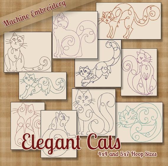 Elegantes gatos de Redwork patrones de bordado de la máquina / | Etsy