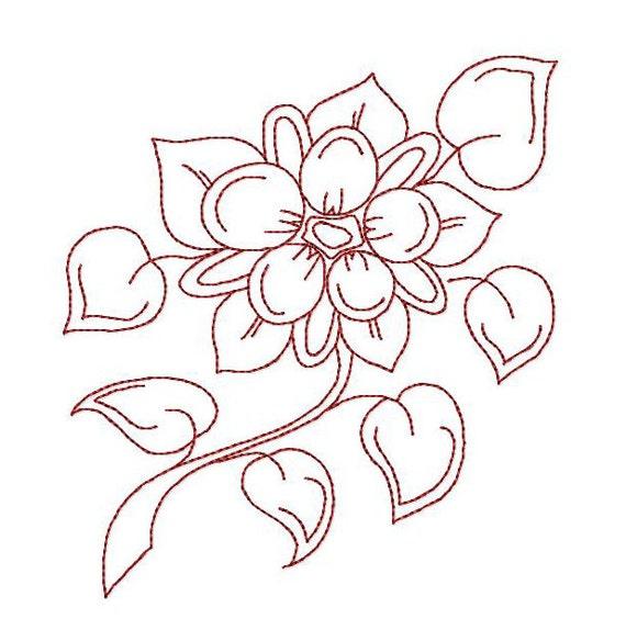 Flores hermosas de Redwork Vintage Garden patrones de bordado | Etsy