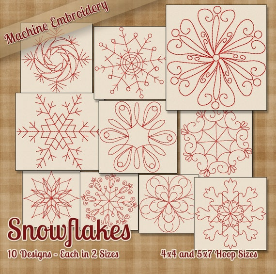 Snowflakes Redwork Embroidery Machine Designs 10 Patterns 2 Etsy