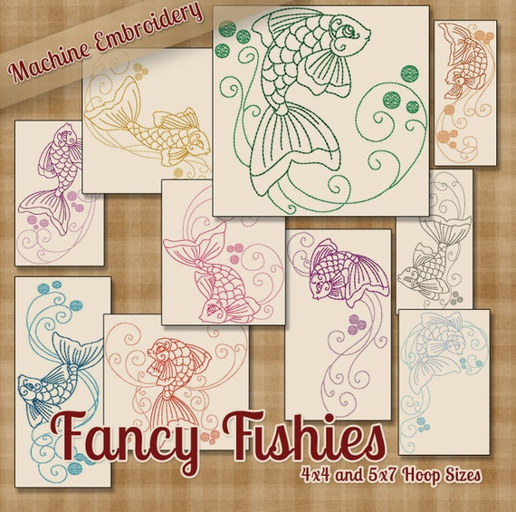 Colorwork lujo Fishies máquina bordado patrones diseños de | Etsy