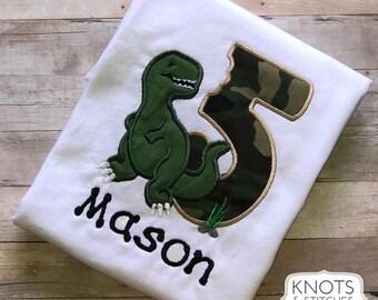 Embroidered Dino Birthday Bodysuit/ Shirt