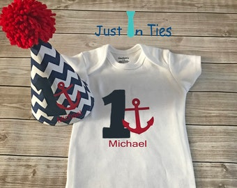 Nautical Themed Baby Boy First Birthday Onesie and Party Hat Cake Smash