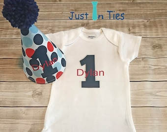 Baby Boy First Birthday Polka Dot Party Hat and Personalized Onesie
