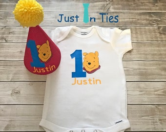 Pooh Bear Personalized Onesie and First Birthday Hat Cake Smash Outfit