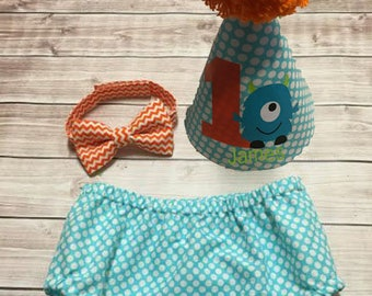 Little Monster Baby Boy Cake Smash Outfit First Birthday Outfit