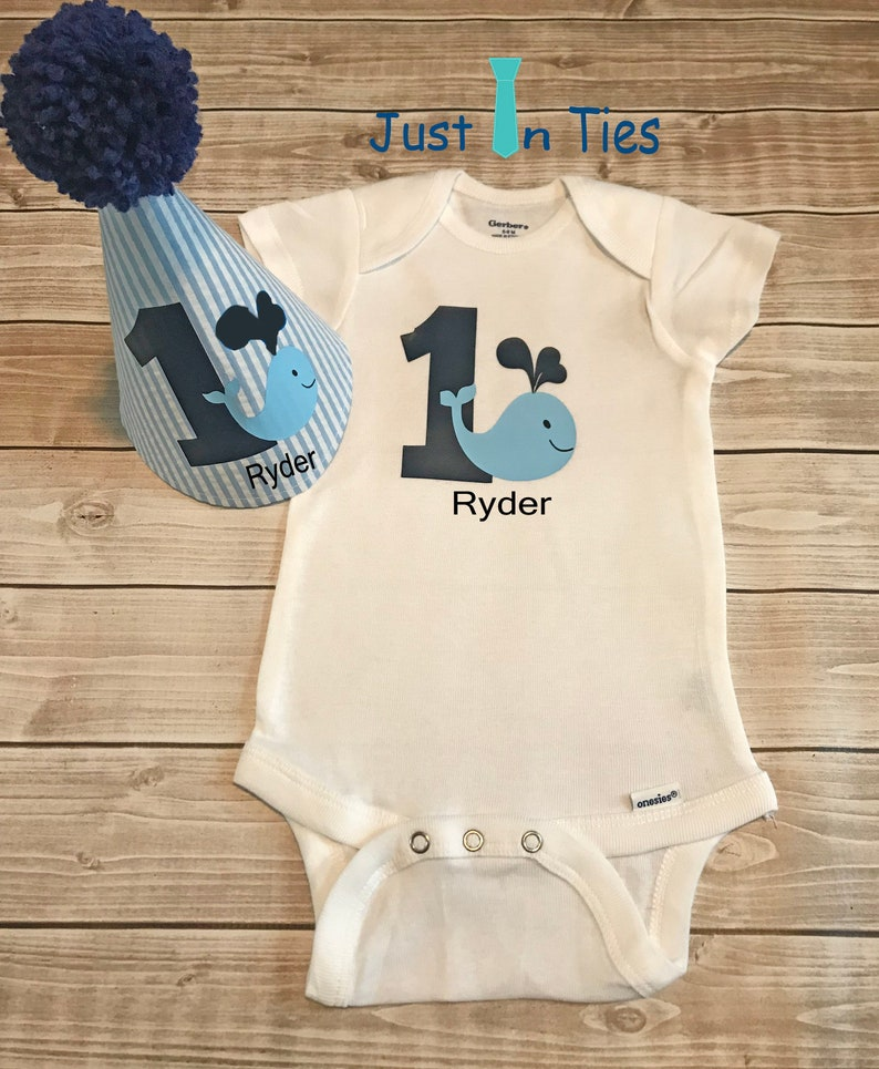 7d10c218e081c Whale Themed Baby Boy First Birthday Onesie and Personalized | Etsy