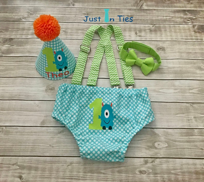 Little Monster First Birthday Boy Cake Smash Set Outfit