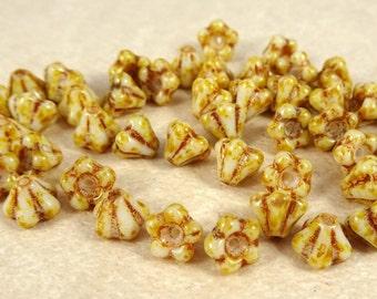 Czech Beads, Baby Bell Flower Beads, Czech Glass Beads - Beige Picasso (FL/SM-T0300) - 6x4mm Flower - Qty. 30