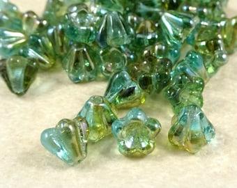 Czech Flower Beads, 6x4mm Baby Bell Flower Beads, Czech Glass Flower Beads, Aquamarine Flower with Celsian Finish (FL/SM-Z6001) Qty. 30