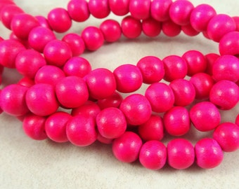 """Hot Pink Wooden Beads - 8mm Wooden Beads -  Bright Hot Pink Beads (9462) - 16"""" Strand"""