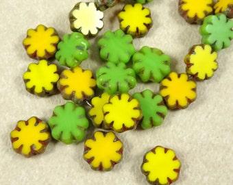 Czech Flower Beads, Czech Glass Flower Beads, Yellow and Green Flower Beads, 9mm Cactus Flower Bead (FL9/N-LLMix) Qty. 12
