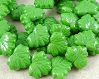 Maple Leaf Beads - Czech Glass Beads - Kelly Green Glass Maple Leaf (L/RJ-0482) - 10x13mm - Qty. 8