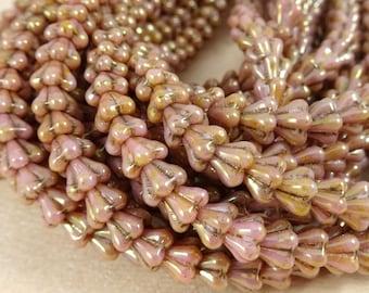 Czech Beads, Baby Bell Flower Beads, Czech Glass Beads - Rose Gold Luster (FL/SM-P65491) - 6x4mm Flower - Qty. 30