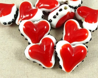 Heart Beads, Glass Heart Shaped Beads, Heart Shaped Lampwork Beads, Red and White Heart with Black Dots, Lamp Work Beads, 18mm - Qty 2