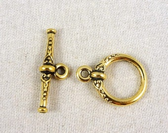 TierraCast Toggle Clasp, Antiqued Gold Toggle Clasp, TierraCast Heirloom Toggle Clasp - Antiqued Gold Clasp (TC/6070-26) Qty. 1