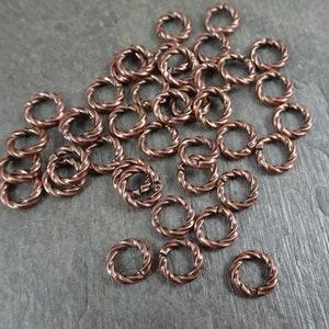 5208 50-6mm Copper Fancy Jump Ring Twisted Antique Open 16 Gauge Brass 6mm Outside 50 pc