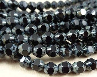 Czech Beads, Czech Faceted Bicone - Jet Black with Grey Picasso (BIC/BB-86805) - 6mm Faceted Bicone - Qty. 25