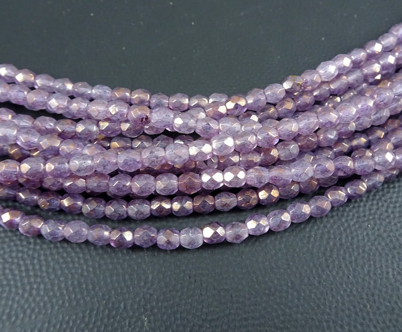 387a041d71be4 Transparent Lavender Luster, Purple Czech Beads, 4mm Czech Glass Beads, 4mm  Faceted Round Bead, Light Purple Luster (FP4/SM-644955) - Qty 50