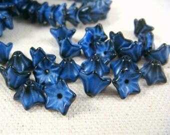 Czech Beads, Czech Flower Beads - Blue Flower, Denim and Dark Blue Mix (BF/RJ-0995) - Czech Glass 5 Petal Flower Bead - 6x9mm - Qty 12