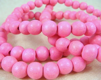 """Pink Wooden Beads - 8mm Round Wooden Beads, Bright Pink Beads (9461) - 16"""" Strand"""