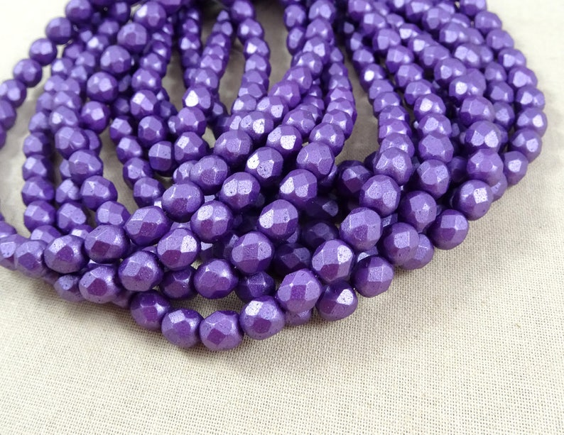 FUSCHIA Faceted Round Fire Polished Czech Glass Beads 6MM 50 AMETHYST