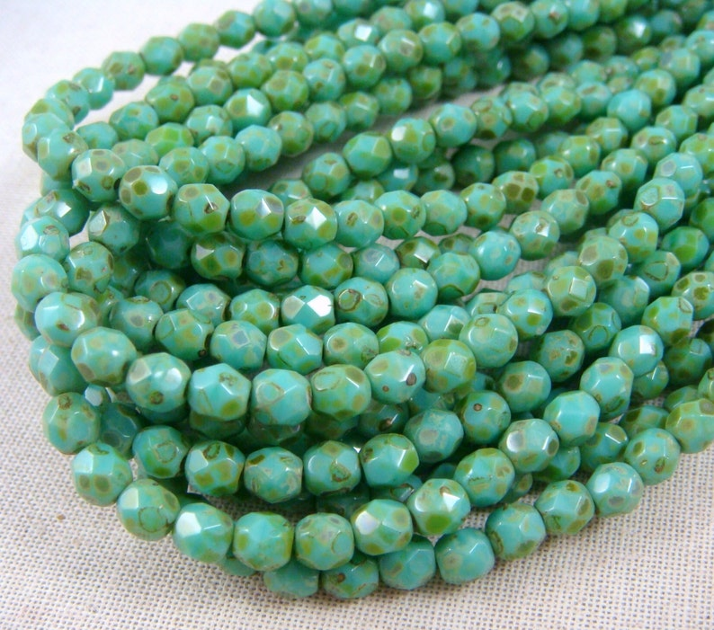 fc6e5ca6efa14 Czech Beads, 4mm Czech Glass Fire Polished Beads, 4mm Faceted Round Beads -  Turquoise Picasso (FP4/SM-T6313) - Qty 50