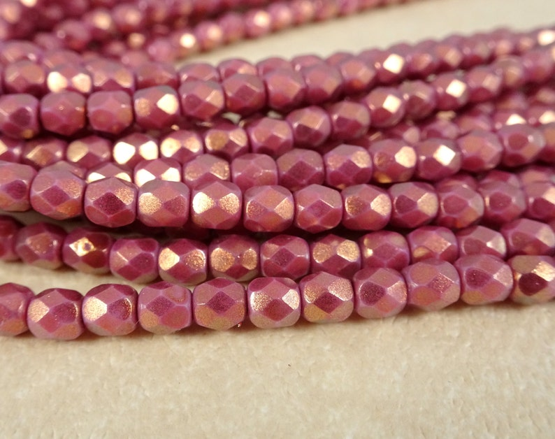 c5e5d0fdf0aec Czech Beads, 4mm Czech Glass Fire Polished Beads, 4mm Faceted Round Beads -  Dark Rose Pink with Golden Halo (FP4/SM-P29259) - Qty 50