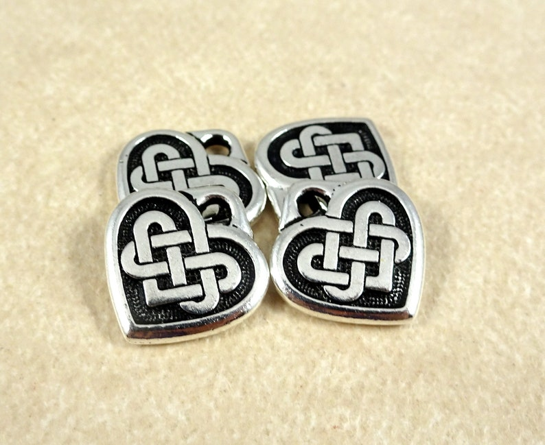 4 TierraCast Silver Celtic Charms Antiqued Silver Celtic Charm - Qty Silver Plated Pewter Celtic Knot Heart Charm 14mmx13mm TC2393-12