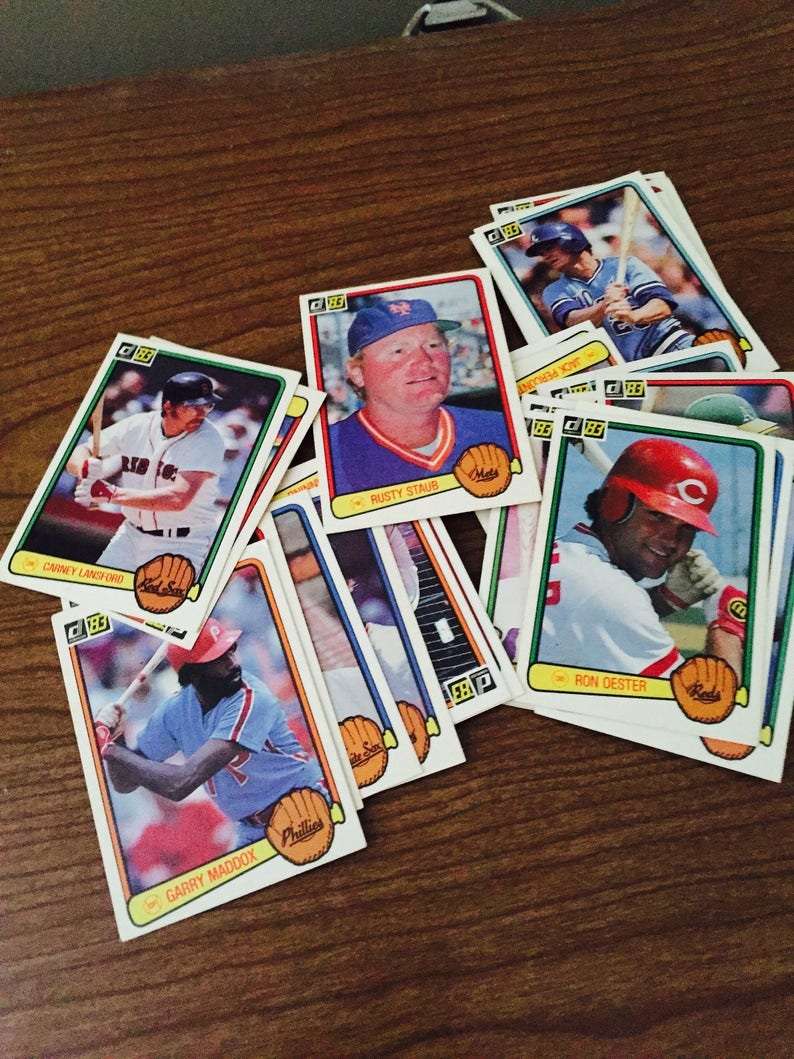 Vintage Baseball Cards 30 Sports Memorabilia Collectibles Trading Card Year 1983 Antique Discoveries