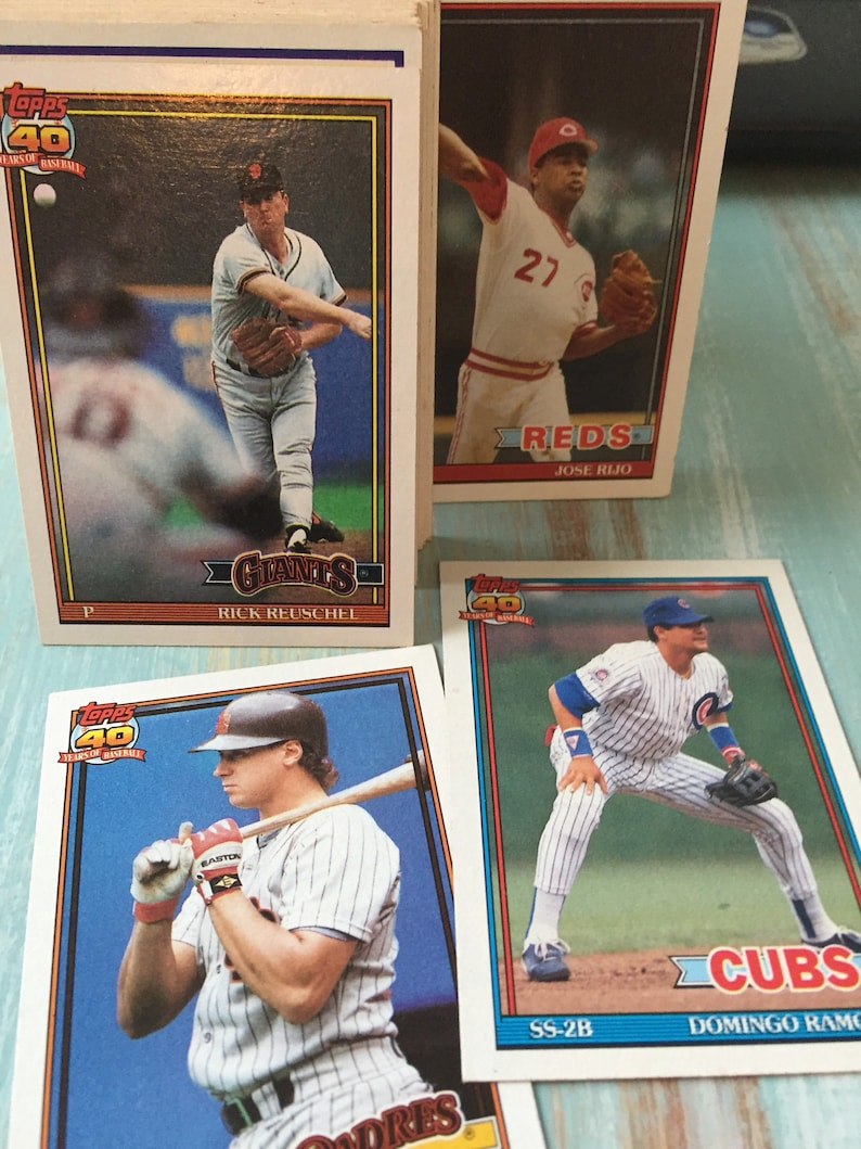 Baseball Cards Vintage 40 Cards Topps Sports Memorabilia Year 1991 Antique Discoveries
